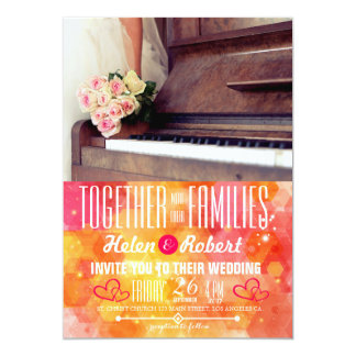 bouquet of flowers,bride and the piano card