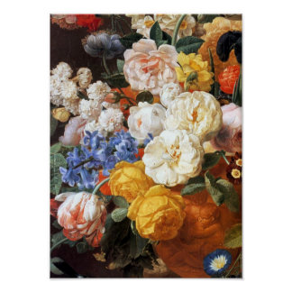 Bouquet of Flowers in a Sculpted Vase Print