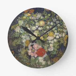 Bouquet of Flowers in a Vase Round Clock