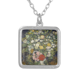 Bouquet of Flowers in a Vase Silver Plated Necklace