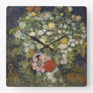 Bouquet of Flowers in a Vase Square Wall Clock