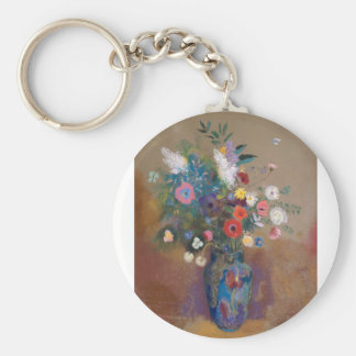 Bouquet of Flowers - Odilon Redon Basic Round Button Keychain