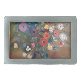 Bouquet of Flowers - Odilon Redon Rectangular Belt Buckle