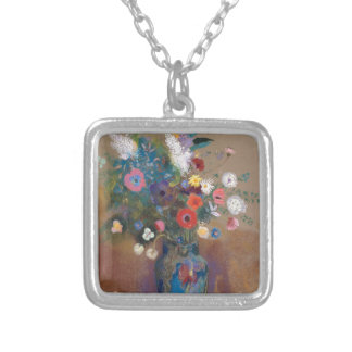 Bouquet of Flowers - Odilon Redon Silver Plated Necklace