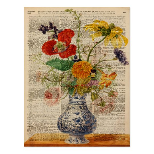 Bouquet of flowers Oil Painting Postcard