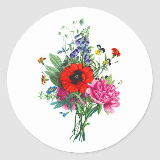 Bouquet of Foxglove, Poppy and Peonie by Prevost Round Sticker