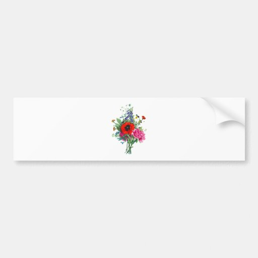 Bouquet of Foxglove, Poppy and Peonies by Prevost Bumper Stickers