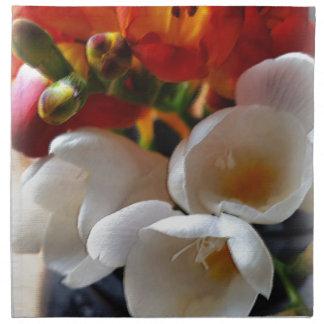 bouquet of freesias napkin