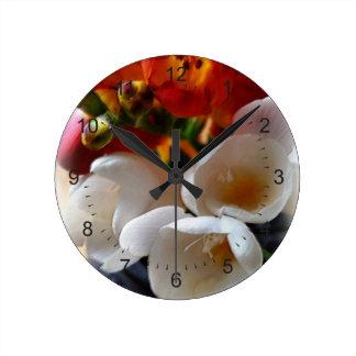 bouquet of freesias round clock