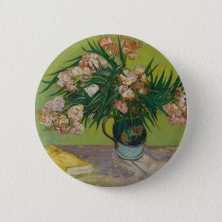 Bouquet of Pink Flowers in Vase 2 Inch Round Button