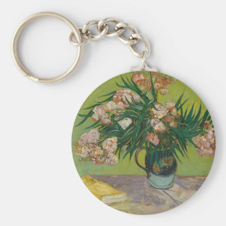 Bouquet of Pink Flowers in Vase Keychain