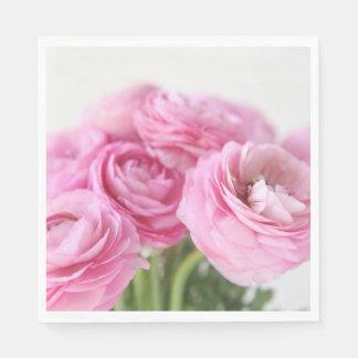 Bouquet of pink ranunculus paper napkin