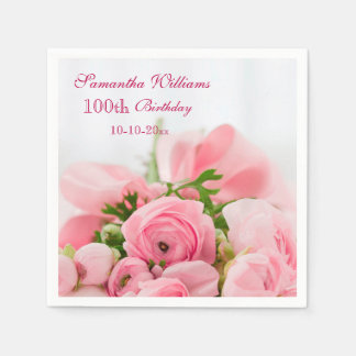 Bouquet Of Pink Roses 100th Birthday Napkin