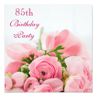 Bouquet Of Pink Roses 85th Birthday Card