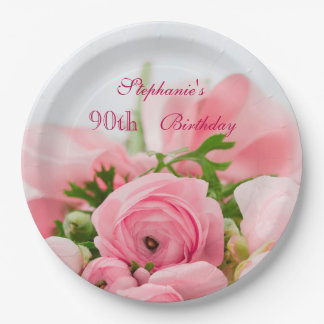 Bouquet Of Pink Roses 90th Birthday 9 Inch Paper Plate