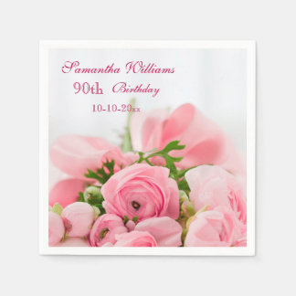 Bouquet Of Pink Roses 90th Birthday Disposable Napkins