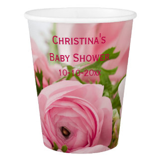 Bouquet Of Pink Roses Baby Shower Paper Cup