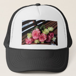 Bouquet Of Roses Pink Roses White Roses Bouquet Trucker Hat