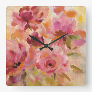 Bouquet of Roses Square Wall Clock