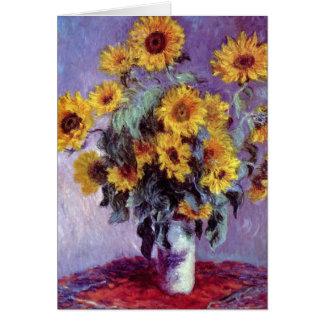 Bouquet of Sunflowers by Claude Monet, Vintage Art Card