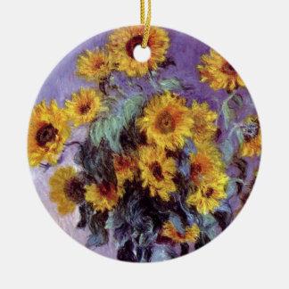 Bouquet of Sunflowers by Claude Monet, Vintage Art Ceramic Ornament