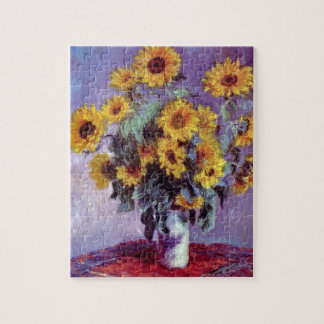 Bouquet of Sunflowers by Claude Monet, Vintage Art Jigsaw Puzzle