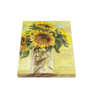Bouquet of Sunflowers in a Vase on canvas