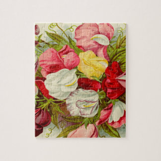 Bouquet of sweet pea flowers jigsaw puzzle