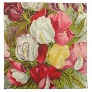 Bouquet of sweet pea flowers napkin