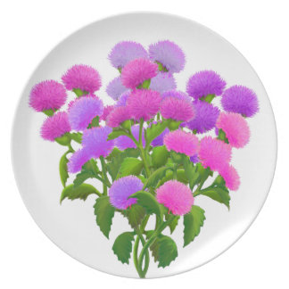 Bouquet of Thistle Flowers Plate