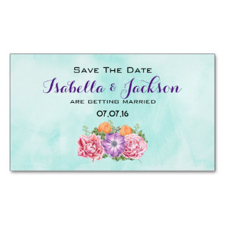 Bouquet of Watercolor Flower Wedding Save The Date Business Card Magnet