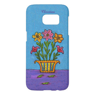 Bouquet Pink Yellow Flowers Ornate Vase on table Samsung Galaxy S7 Case