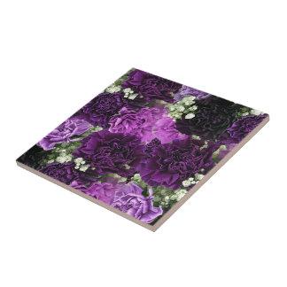 Bouquet Purple Carnations Tile