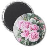 Bouquet rose vintage de roses magnet rond 8 cm
