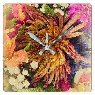 Bouquet (Warm Colors) Square Wall Clock