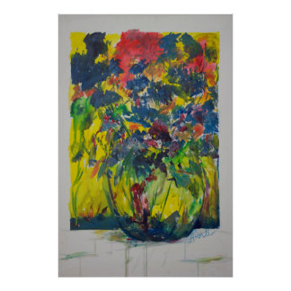 Bouquet with Blue Flowers Poster