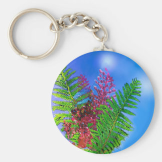 Bouquet with ferns basic round button keychain