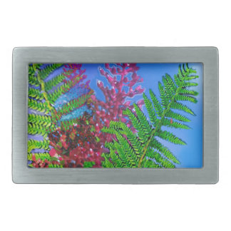 Bouquet with ferns rectangular belt buckles