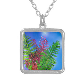Bouquet with ferns silver plated necklace