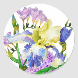 Bouquet with iris and fresia classic round sticker