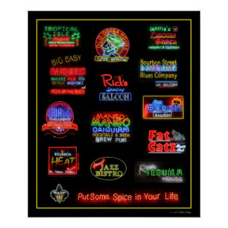Bourbon Street Neon Signs Poster