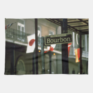 Bourbon Street Sign in New Orleans Kitchen Towel