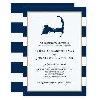Bourne Cape Cod Map with heart   Wedding Card