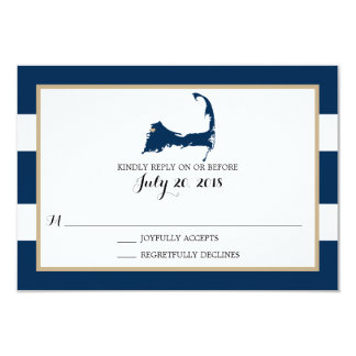 Bourne Cape Cod with heart   Wedding RSVP Card