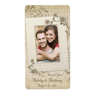 Bouteille de vin florale de mariage de photo de de étiquette d'expédition