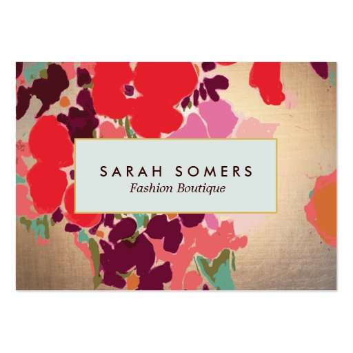 Boutique chic florale colorée artistique de mode modèle de carte de visite