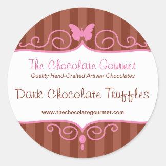 Boutique chocolate shop stripe candy round sticker