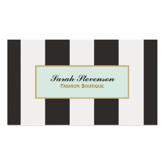 Boutique noire et blanche élégante de mode de carte de visite standard
