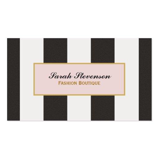 Boutique noire et blanche élégante de mode de carte de visite