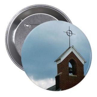 Bouton croisé de photo de Steeple d'église chrétie Macaron Rond 7,6 Cm